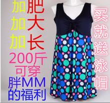 泳衣女托显瘦遮肚胖MM温泉加肥加大裙式连体泳装 200斤特大码