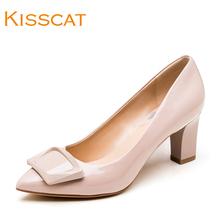 女KA87101 真牛漆皮尖头高粗跟职业浅口单鞋 接吻猫2017春季新款