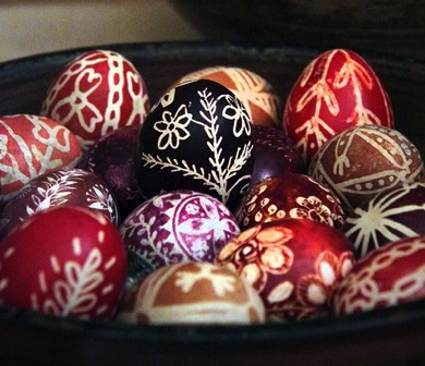 Hungarian Easter eggs at the Museum of Ethnography, Budapest