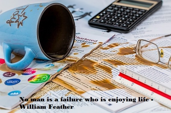 No man is a failure who is enjoying life - William Feather
