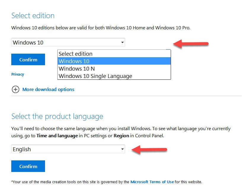 Download Windows 10 ISO file from Microsoft