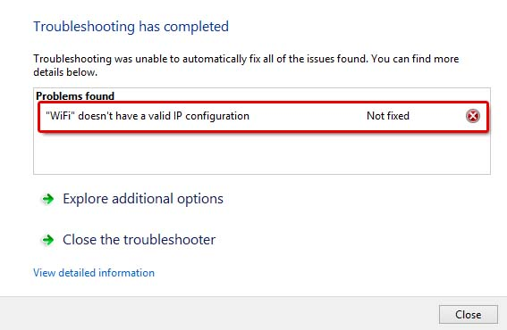 Wifi doesn't have a valid IP configuration Windows 10 fix