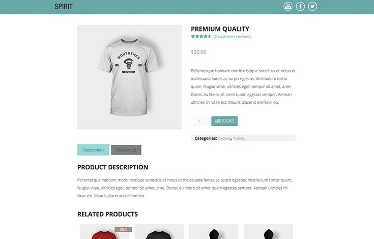 Spirit includes styles for WooCommerce.