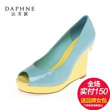 凉鞋 达芙妮专柜鱼嘴鞋 浅口圆头高坡跟优雅拼色女单鞋 新款 Daphne