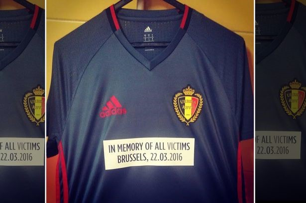 Belgium players donned a special jersey during warm-up in remembrance of Brussel attack victims