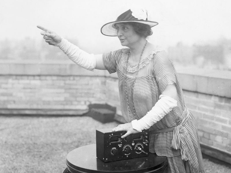 Helen Keller in a photo taken to promote her project of getting radios to blind children. Smithsonian Magazine/Corbis