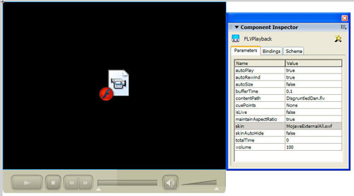 Flash Video ready for playback, plus use of the Component Inspector