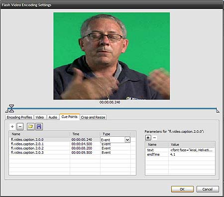 The XML Cue Points are embedded into the FLV.