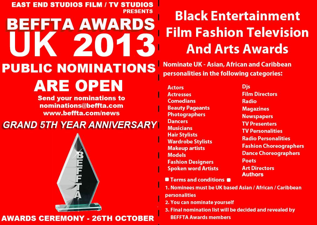 BEFFTA UK 5TH YEAR GRAND ANNIVERSARY - PUBLIC NOMINATIONS 2013