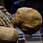 An Egyptian Mummy lies in the British Museum. The methods of embalming, or treating the dead body, that the ancient Egyptians used is called mummification.