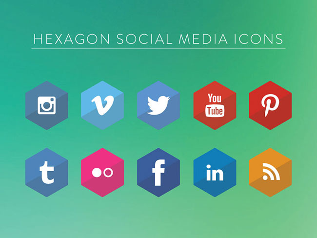 Hexagon-Social-Media-Icons