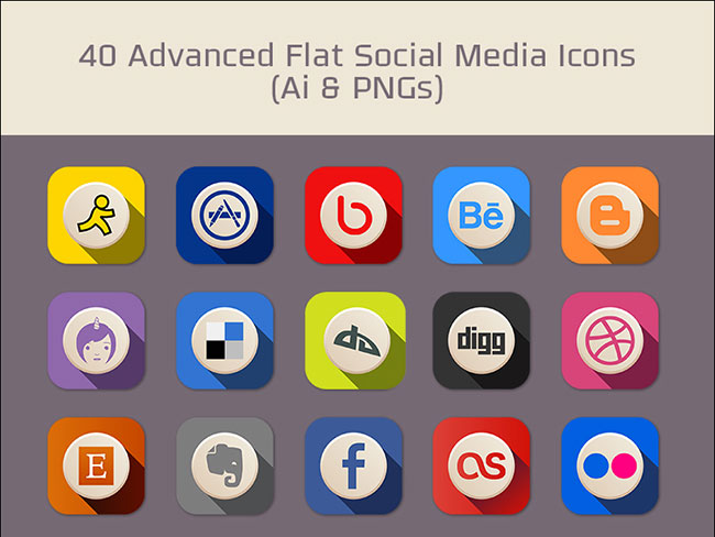 40-Free-Advanced-Flat-Social-Media-Icons