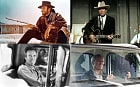 A selection of film stills featuring Clint Eastwood, including A Fistful of Dollars, Honkytonk Man, White Hunter Black Heart and Gran Torino.