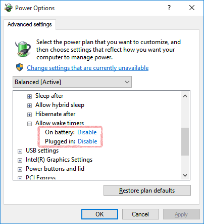 power options screenshot 2 with 2 options