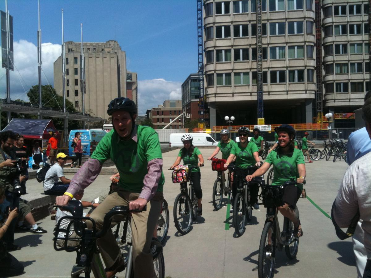 MAPC staff at Hubway launch, July 2011