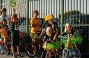 Kids excited to have Packers ride their bikes