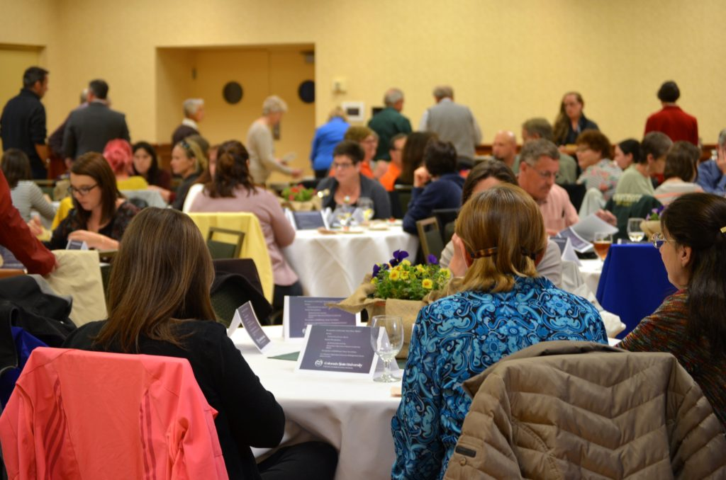 crowd gathers at spring awards reception