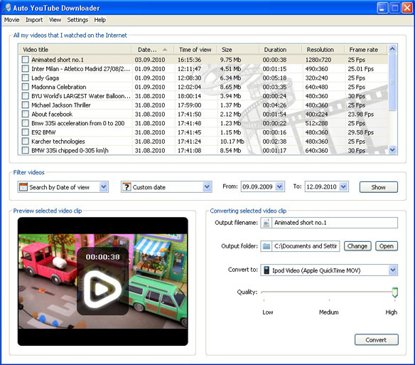 Auto YouTube Downloader: Standard view