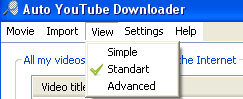 Select view of Auto YouTube Downloader
