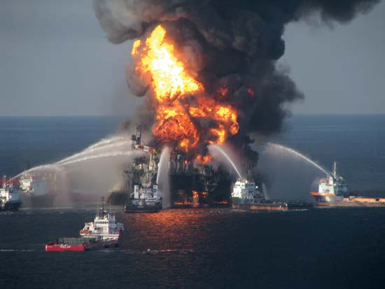 Fireboat response crews attempting to extinguish the blaze aboard the Deepwater Horizon oil rig in the Gulf of Mexico, April 21, 2010.