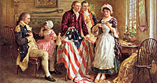 Betsy Ross shows her U.S. flag to George Washington (left) and other patriots, in a painting by Jean-Léon Gérome.