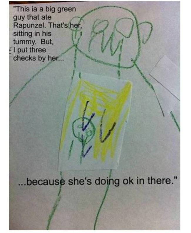 Everyone Knows Big Green Guys is listed (or ranked) 32 on the list 51 Unintentionally Hilarious Kids' Drawings