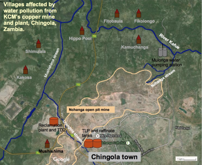map of villages affected by KCM water pollution