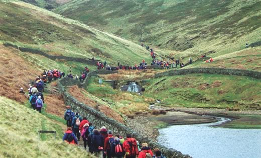 Kinder Reservoir - Walkers enter William Clough during 70th anniversary celebrations