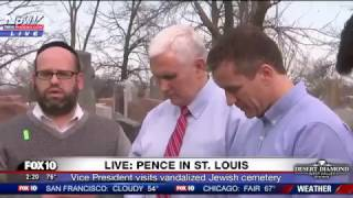 Vice President Mike Pence Speaks Against Anti-Semitism During Visit to Vandalized Jewish Cemetery