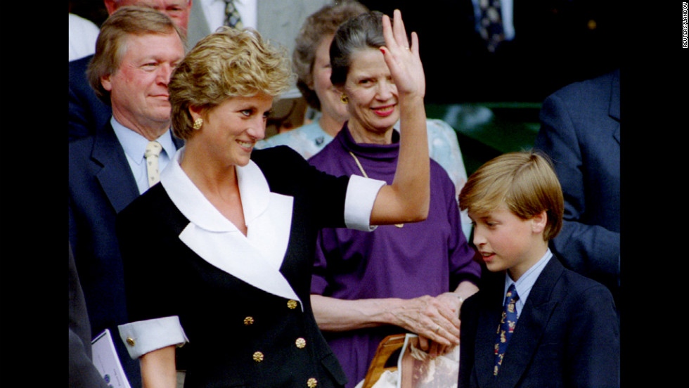Accompanied by Prince William, Princess Diana arrives at Wimbledon before the start of the women's singles final in 1994.
