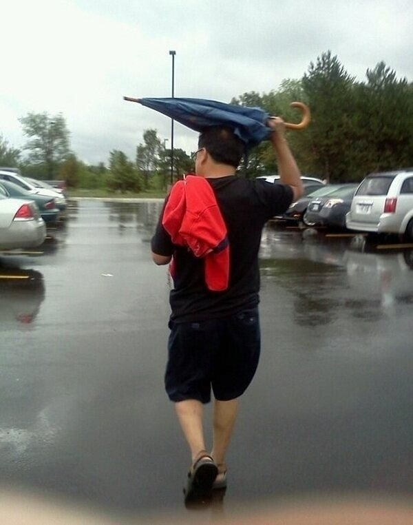 stupid people -not how to use an umbrella