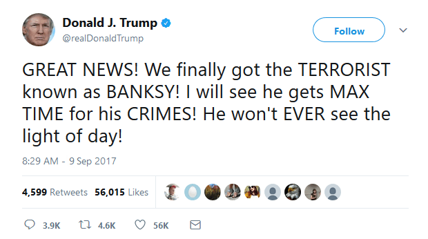 Donald Trump tweets about Banksy AKA Paul Horner