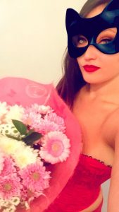 Domme Sakura flowers from a slave
