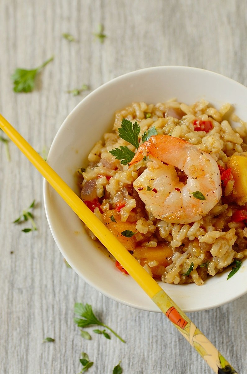 Easy Shrimp Fried Rice in a bowl with chopsticks on the side