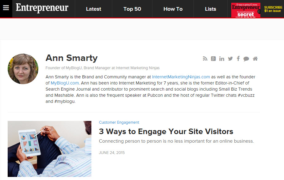 Ann Smarty's author page on Entrepreneur