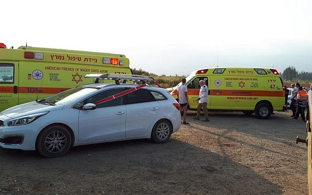 Ambulances in northern Israel near the Jordan River at a spot where two teens nearly drowned and were rescued by paramedics and civilians who were on site, on Friday, September 15 , 2017 (MDA spokesperson)