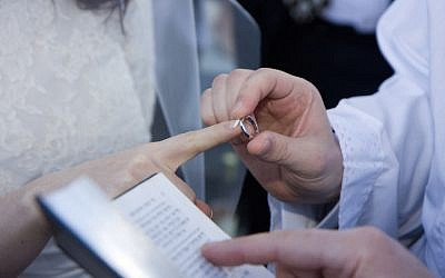 Illustrative photo of a Jewish couple getting married. (Justin Oberman/Creative Commons)
