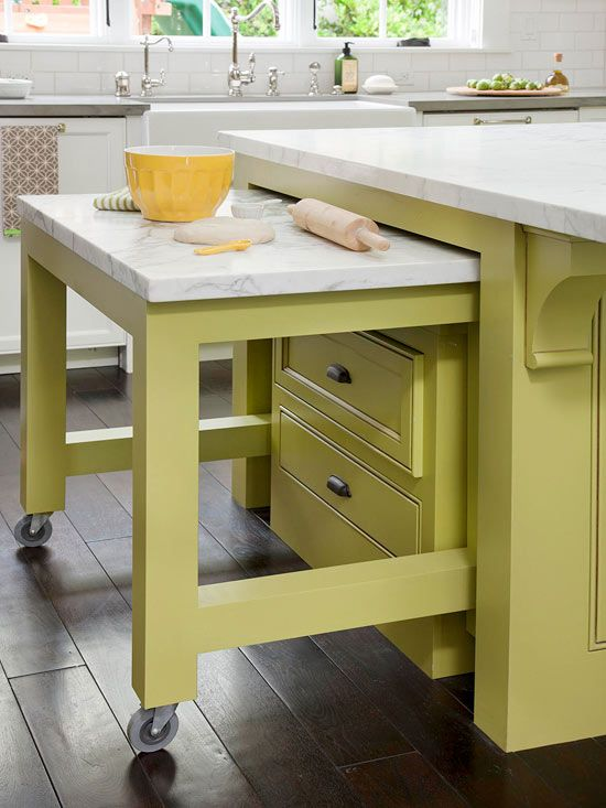 11. A Roll-out Table Drawer For All the Counter Work.
