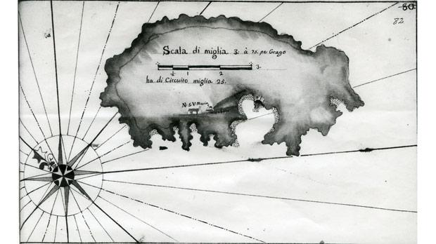 Manuscript map of Lampedusa (above) and of the island's harbour (below) produced in the last quarter of the 18th century by Antonio Borg.