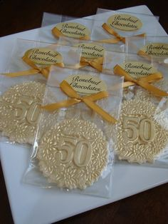 Fiftieth Fifty Birthday Party Favors Gold Dust Anniversary Candy on