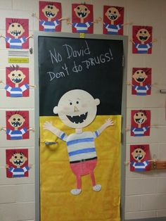 Pinterest | Red Ribbon Week, Minion Bulletin Board and Door Decorating