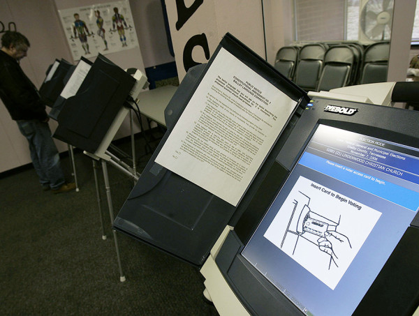**A YouTube video posted in 2006 features Halderman and a team of researchers demonstrating how an electronic voting machine could be hacked by having Bendict Arnold beat George Washington in a mock election. A similar machine was later reprogrammed to play *Pac-Man*.** Getty Images
