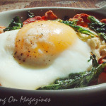 Baked Eggs with Bacon and Spinach from Bon Appetit Magazine, September 2010