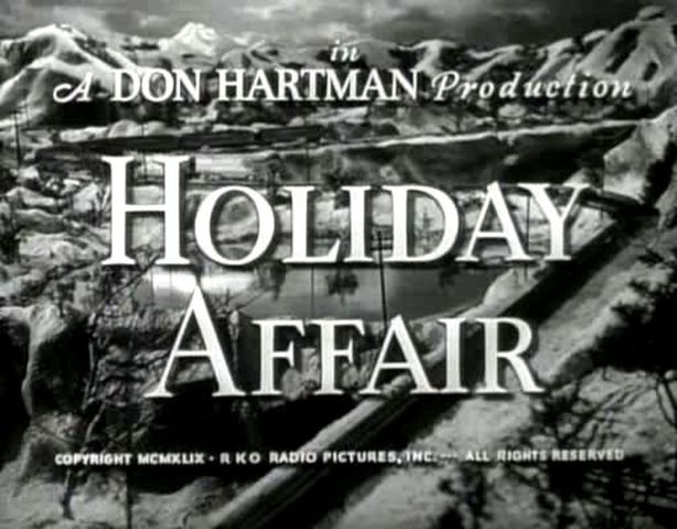 Opening credit title for Holiday Affair (1949), visual of snow-covered mountains and train