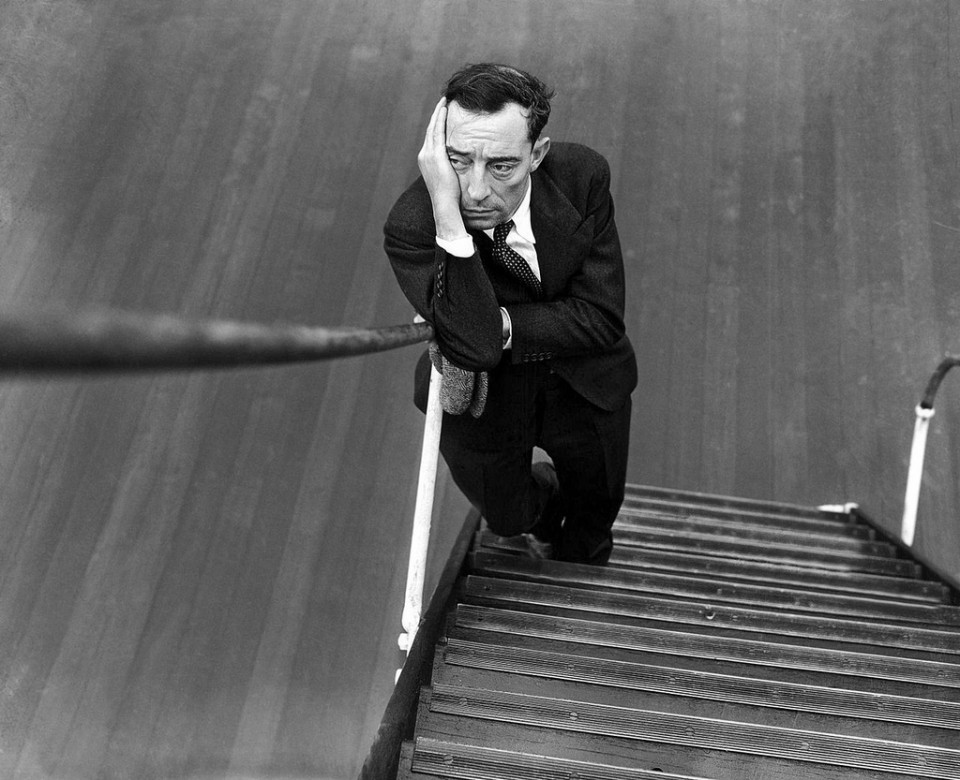 Buster Keaton on stairs