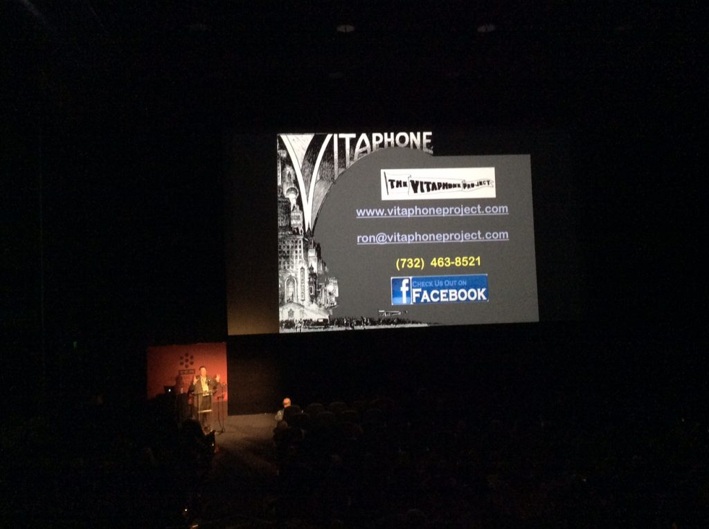 Ron Hutchinson—he's there, if diminutive, at lower left) giving us the low-down on the history of Vitaphone and how the process works