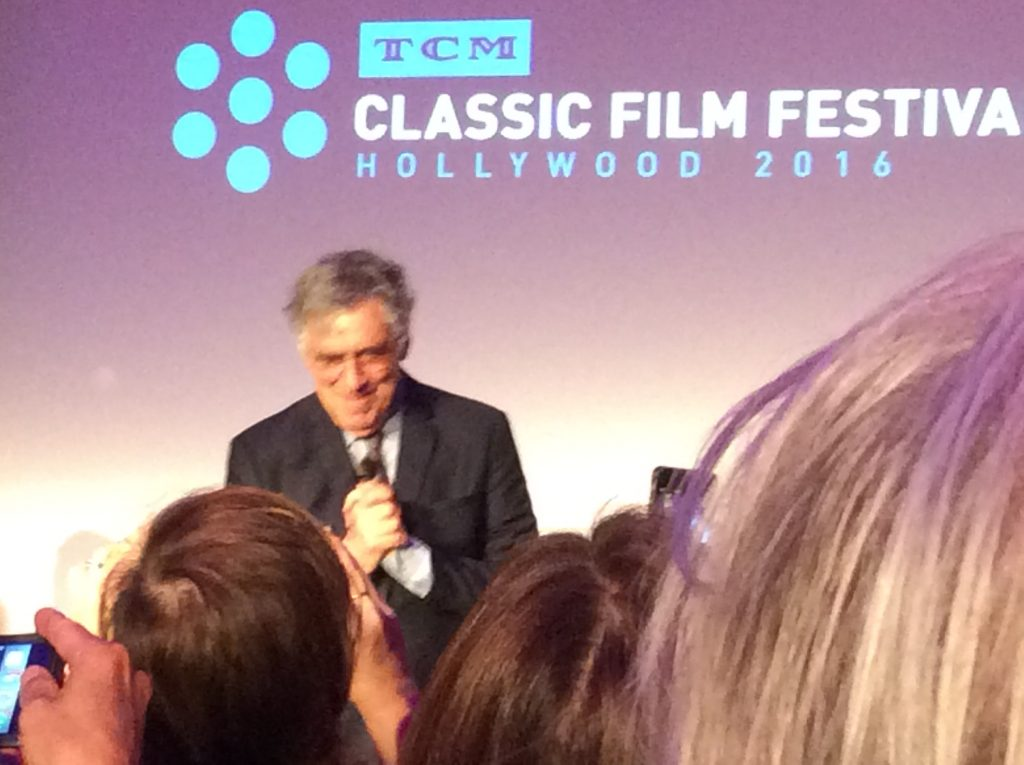 My best view of Elliott Gould, who was about 12 feet from me, during his interview at Club TCM. The hair at right belongs to ex-child actor Ted Donaldson, whom I wish I had introduced myself to. Chalk it up to festival fever, which fogs the brain.
