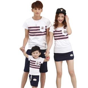 t2旗舰店二零一五新款亲子母女短袖家庭套装三口之家夏装T恤潮 T2