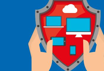 graphic showing two hands holding a shield with digital devices and a cloud projected on it