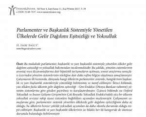 Parlamenter ve Başkanlık Sistemiyle Yönetilen Ülkelerde Gelir Dağılımı Eşitsizliği ve Yoksulluk/Emre Bağce